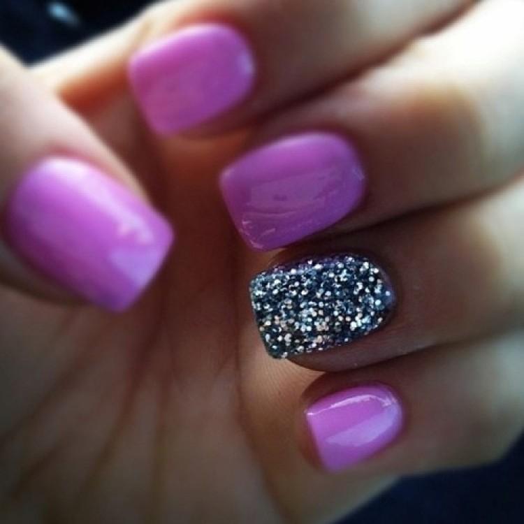 Ultimate Purple Color Sparkle Glitter Accent Nail Art