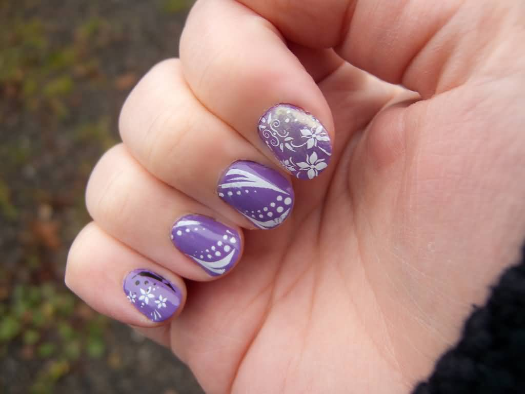 Ultimate Purple With White color Acrylic Short Nail Design