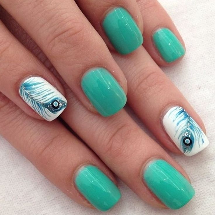 Ultimate Sky Blue And Feather Accent Nail Design
