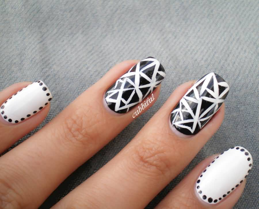 Ultimate White And Black Nail Art With Awesome Design