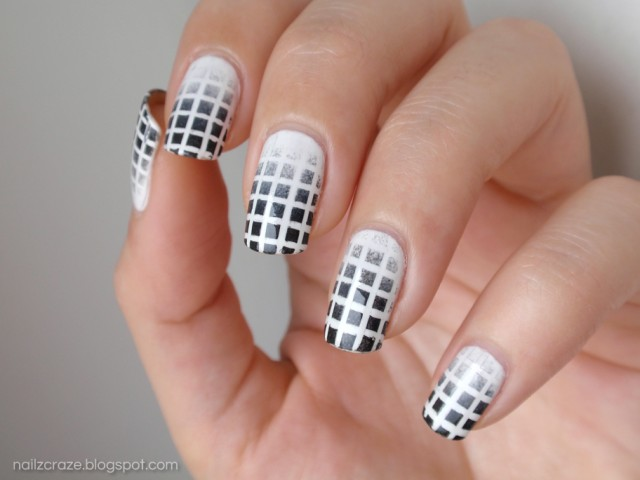 Ultimate White And Black Nail Art With Checks