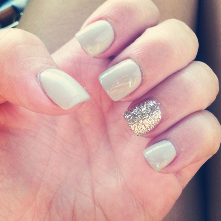 Ultimate White And Sparkling Silver Glitter Accent Nail Art