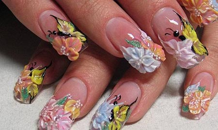 Ultimate Yellow Color Nail Color With Simple Color 3D Butterflies Nail Art
