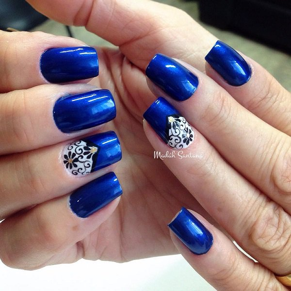 Unique Blue Nails With White Nail And Dark Blue Color Design