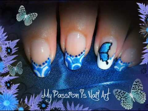 Unique Butterfly Nail With Blue Color Tip