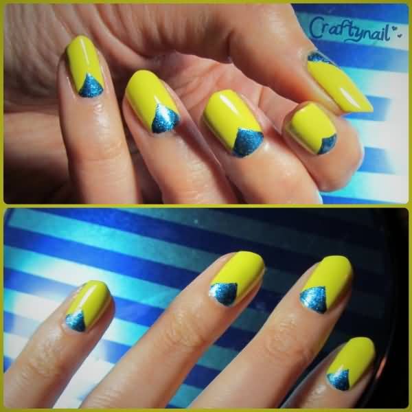 Unique Half V Design In Yellow And Blue Nails