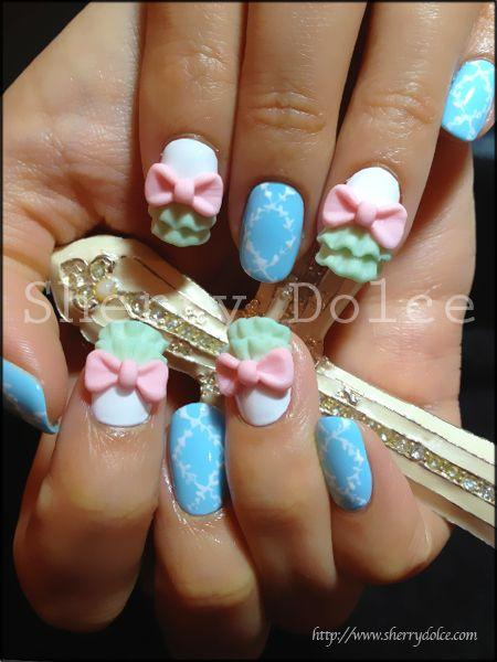 Unique Light Blue Color Paint Design With Pink Flower 3D Nail Art
