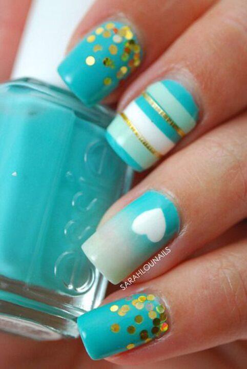Unique Light Blue Nails With White Sparkling Paint