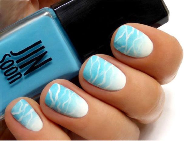 Unique Light Blue Nails With White