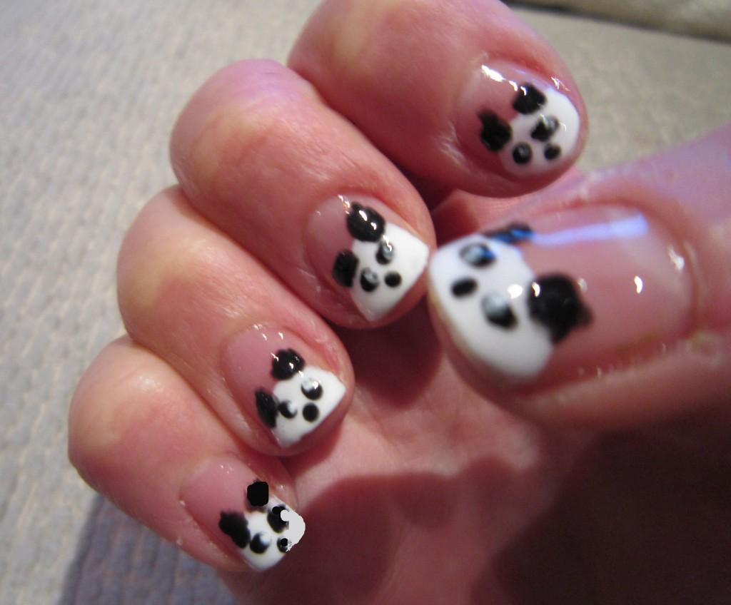 Unique Panda Design In Black And White Nails