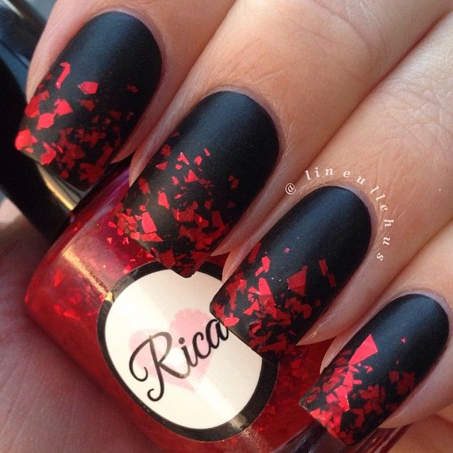 Unique Red And Black Nails With Sparkling Red Ink Design
