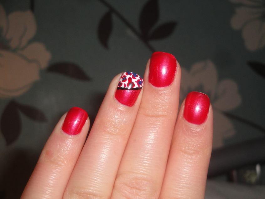 Unique Red And Flower Design Accent Nail Design