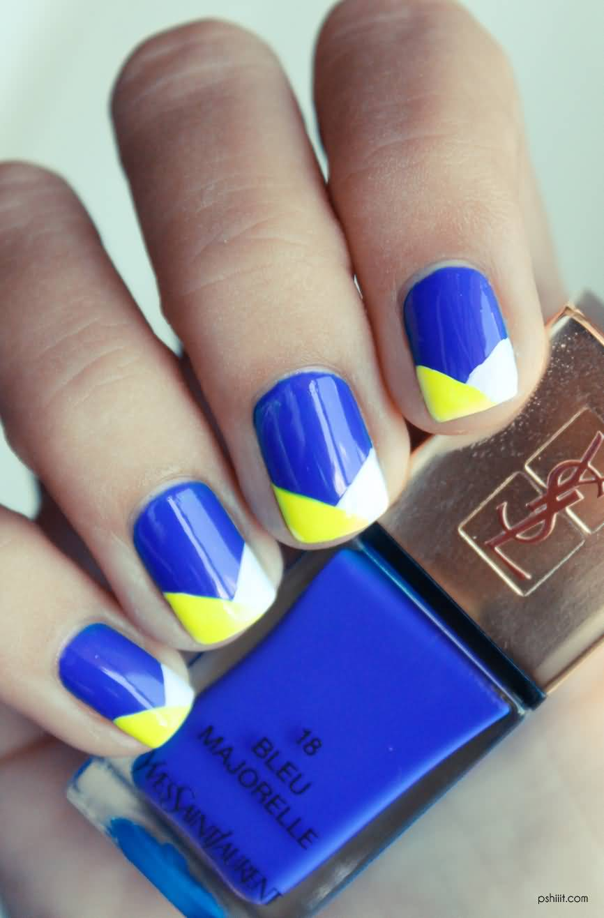 Unique V Shape Design Yellow And Blue Nails