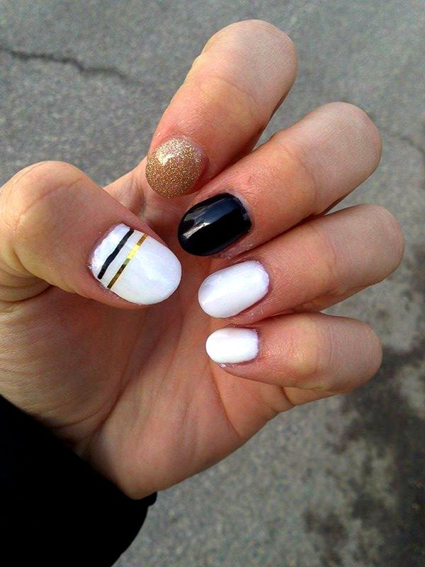 Unique White And Black With Golden Nail And Black And White Nail Art
