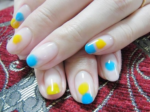 Unique Yellow And Blue Nails With Naked Nails