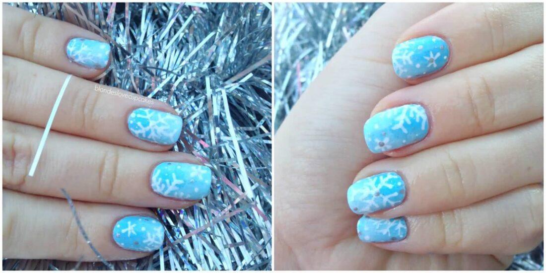 Unique Light Blue Nails With Snow Design