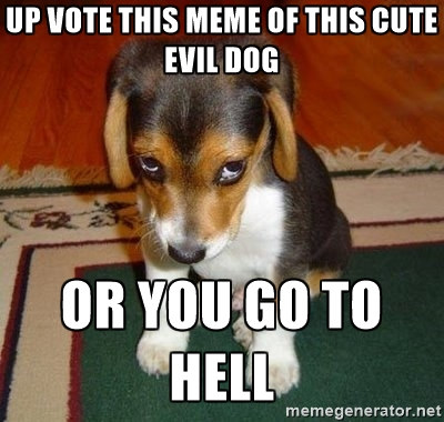 Up Vote This Meme Of This Cute Evil Dog Or You Go To Hell Meme Picture