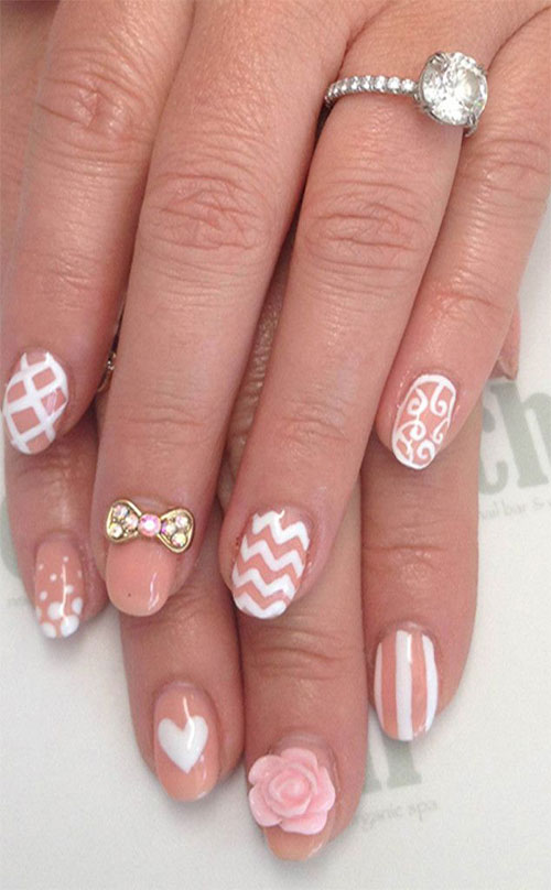 Very Cute White And Pink Color Paint 3D Rose Flower Nail Art