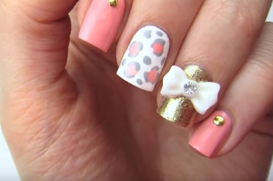 Very Fine Pink And White Nail Art 3D Nail Art