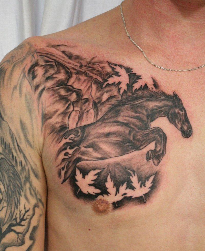 Weird Horse Tattoo On Chest For Boys
