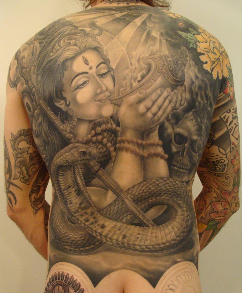 Weird Shiva Tattoo For Full Back For Boys