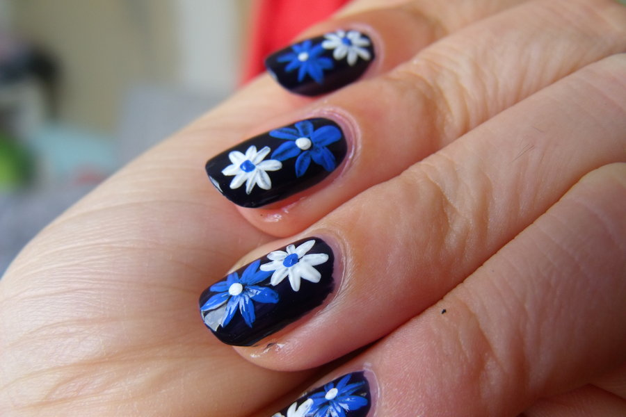 White And Blue Color Flower With Black Back Ground