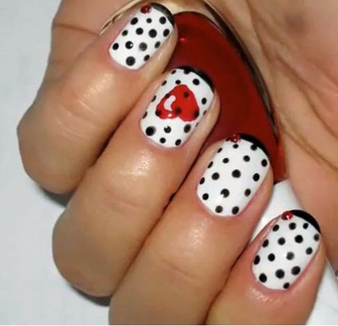 Wonderful Black And White Nail Art With Red Paint Heart