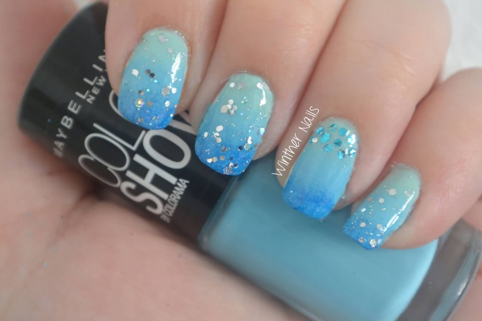 Wonderful Blue Nails With Sparkling Nail Paint