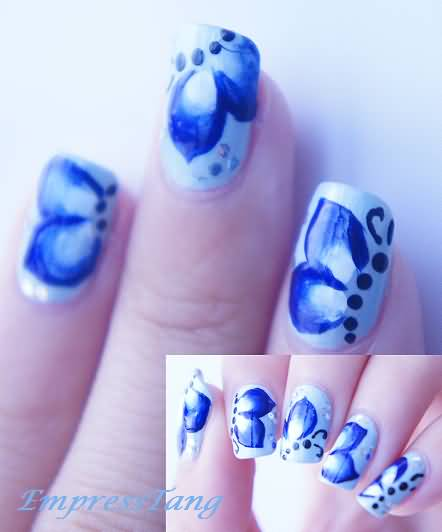 Wonderful Butterfly Nail With Blue & White Combination