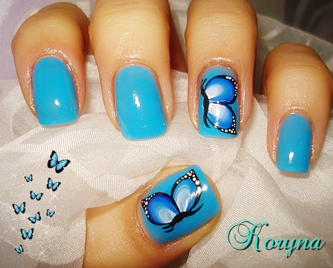Wonderful Butterfly Nail With Sky Blue Paint