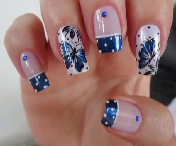 Wonderful Butterfly Nail With Sparkling Blue Tip