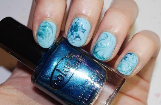 Wonderful Light Blue Nails With Shading Design