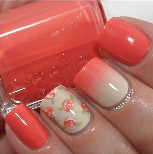 Wonderful Pink Color With Flower Accent Nail Art