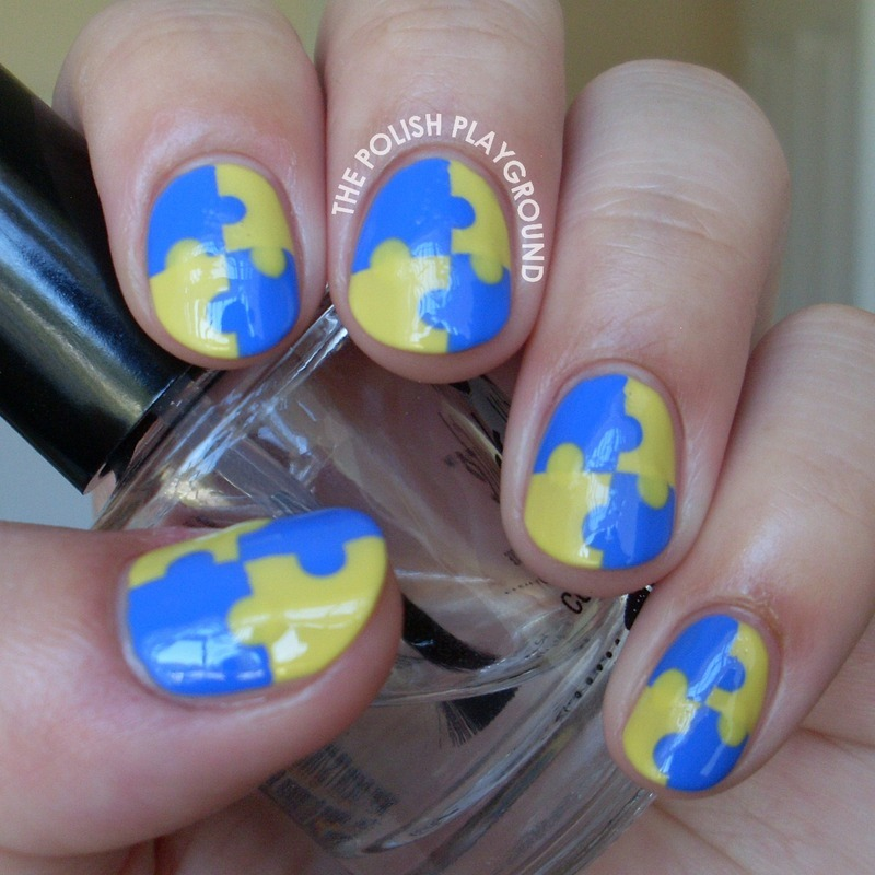 Wonderful Puzzle Design Yellow And Blue Nails