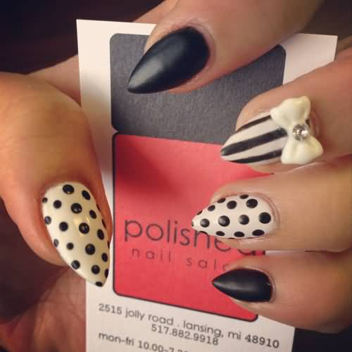 Wonderful Stiletto Nails With 3D Bow And Pulka Dot