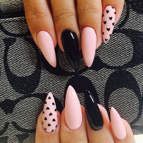Wonderful stiletto nails with pink and black nails picsmine 600 in 65 stunning stiletto nails designs prinsesfo Choice Image