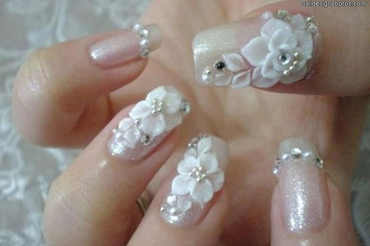 Wonderful White Color 3D Acrylic Nail Art