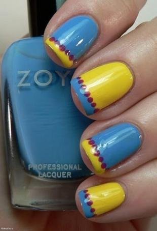 Wonderful Yellow And Blue Nails Colorful Tips