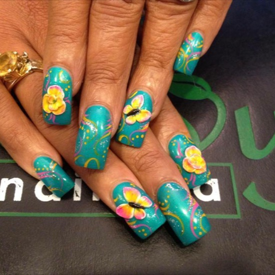 Yellow Color Butterfly With Blue Color Ink 3D Butterflies Nail Art