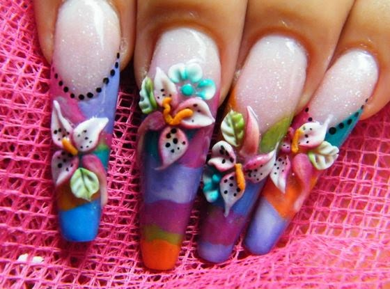 Beautifully Colorful Nail Paint 3D Rose Flower Nail Art
