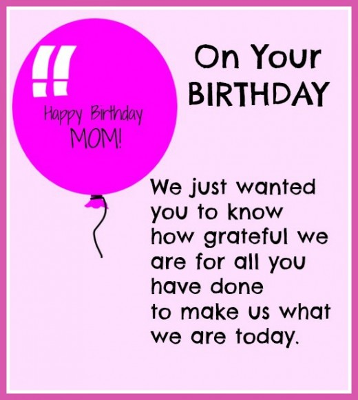 on your birthday we just wanted you to know how grateful we are all you have done to make us what we are today....