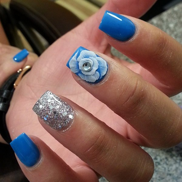 Amazing Blue And Silver Nails With Rose