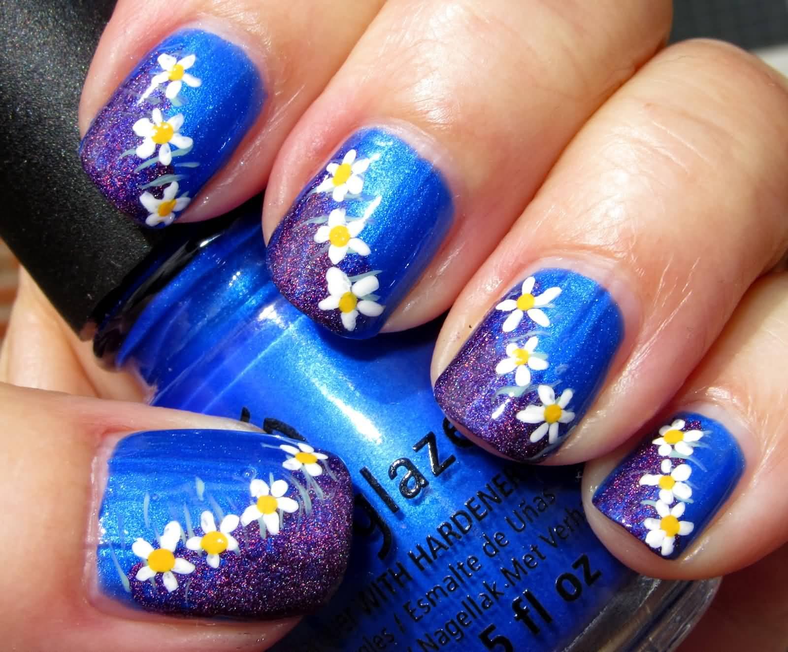 Amazing Flower Design With Blue Nails | Picsmine