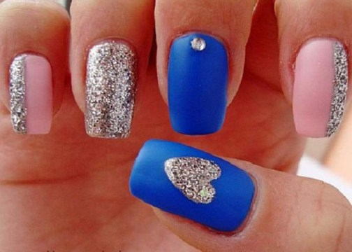 Awesome Blue And Silver Nails With Heart