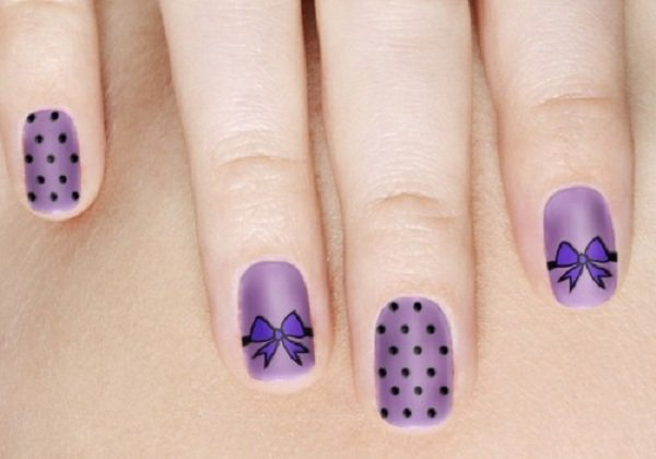 Best Bow Nails With Purple Color