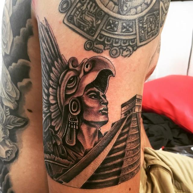 Best Ever Aztec Tattoo on Shoulder and Back For men's