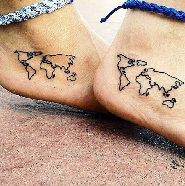 Best Ever World Map Tattoo On Foot For Girls