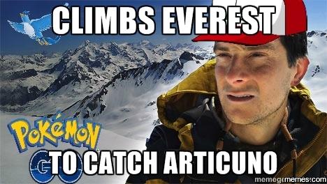 Climbs Everest To Catch Articuno Pokemon Go Meme