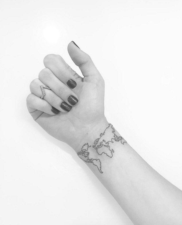 Creative World Map Tattoo For Women's arm