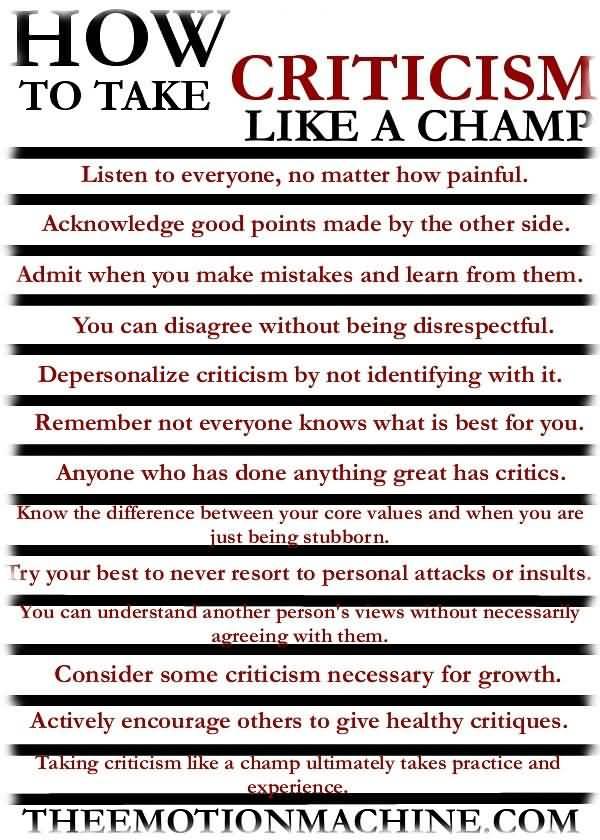 Criticize sayings who to take criticism like a champ